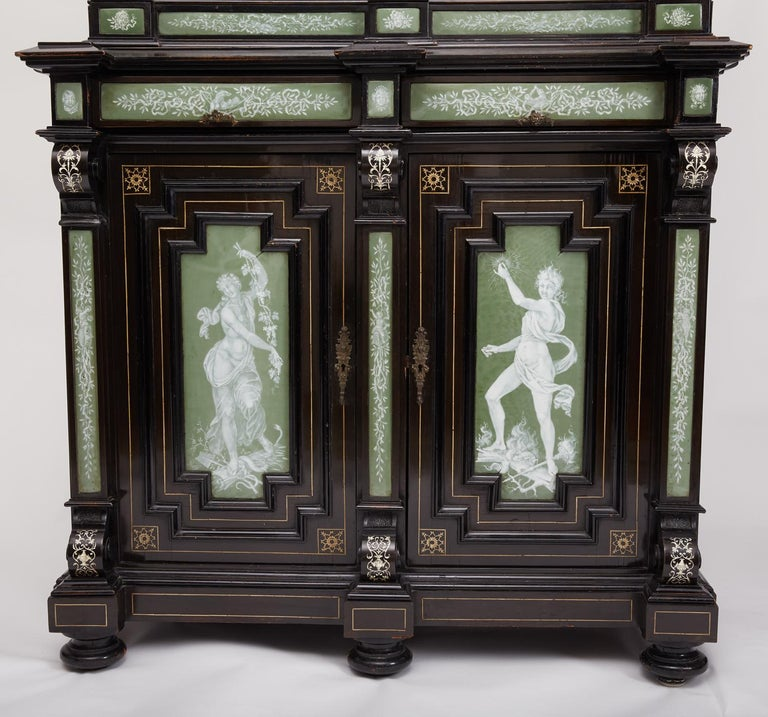 Renaissance Revival Ebonized Cabinet with Exquisite Enameled Copper For Sale 4