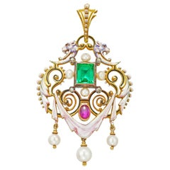 Renaissance Revival Emerald, Ruby and Pearl Pendant