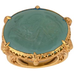 Renaissance Revival Gold and Aquamarine Intaglio Ring, Mid-Late 19th Century