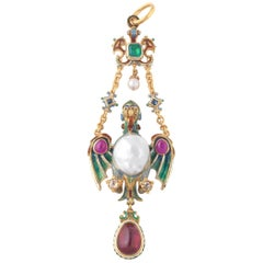Renaissance Revival Pearl Enamel and Gem-Set Pendant, circa 1880