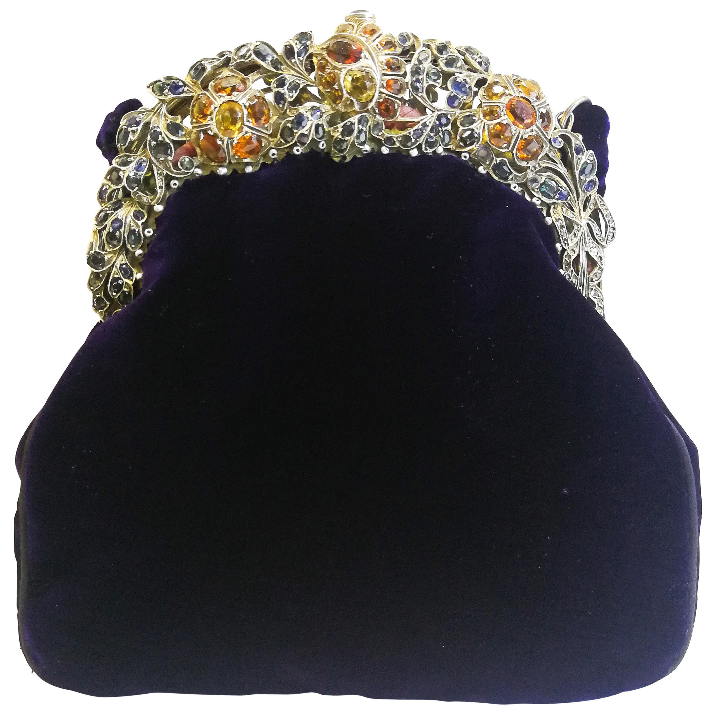 A Renaissance style real and semi precious stone silk velvet handbag, 1920s