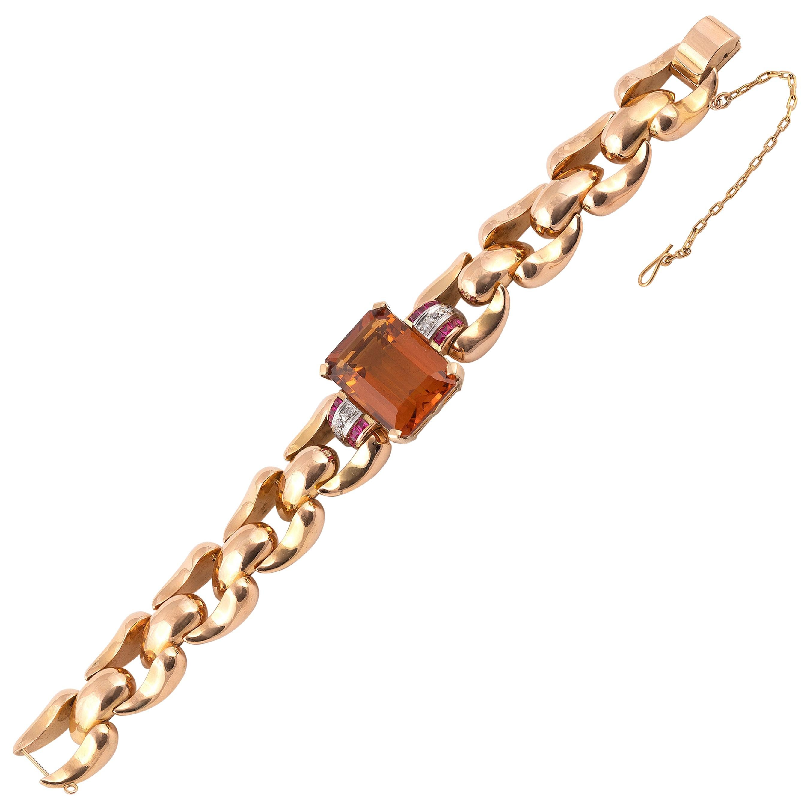 Retro Citrine and Rose Gold Bracelet, circa 1940s