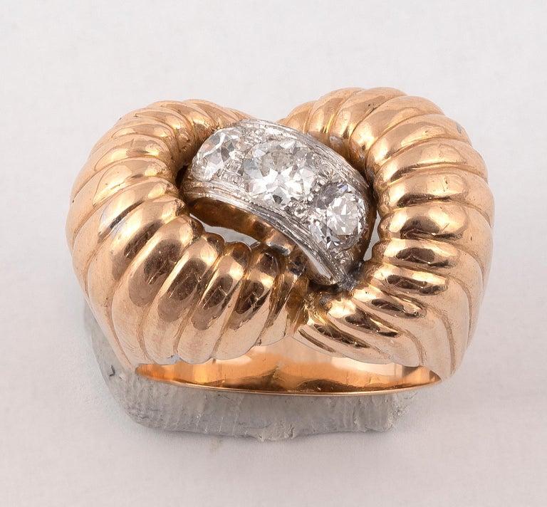 Old European Cut Retro Diamond Ring, 1940s For Sale