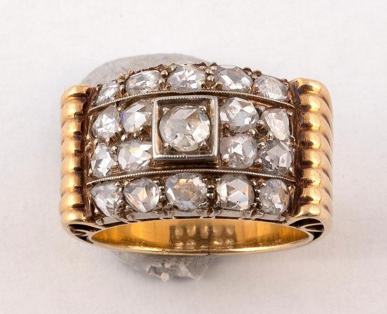 Rose Cut Retro Diamond Ring, circa 1940 For Sale