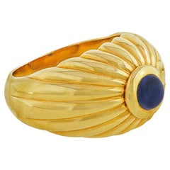Ribbed Gold and Cabochon Sapphire Ring by Cartier