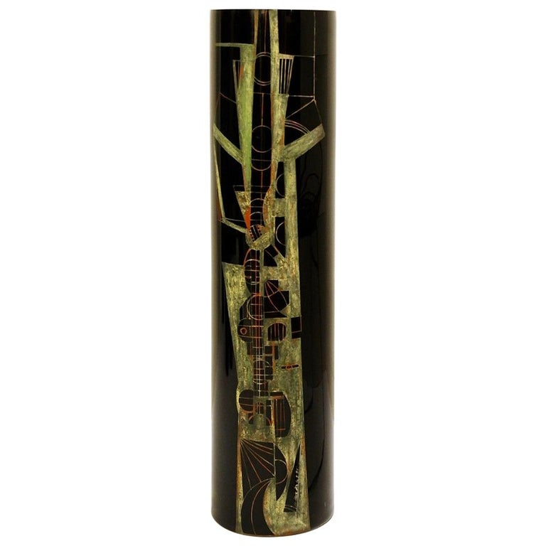 A. Riecke Cylindrical Vase in Black Engraved Glass Signed and Dated For Sale