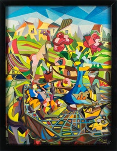 Colorist Still Life Post-Cubist Oil Painting by A. Rigollot