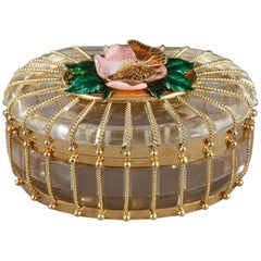 Rock Crystal Box with Enameled Gold Mounts, Algernon Asprey Ltd, Sheffield