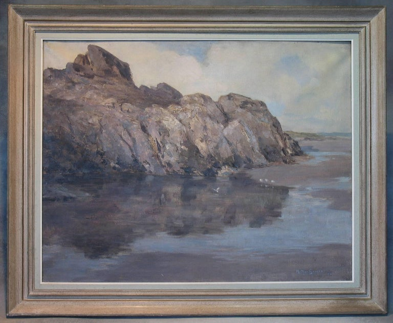 Scottish Rocky Seascape by Harry Macgregor Signed & Dated 1927 For Sale