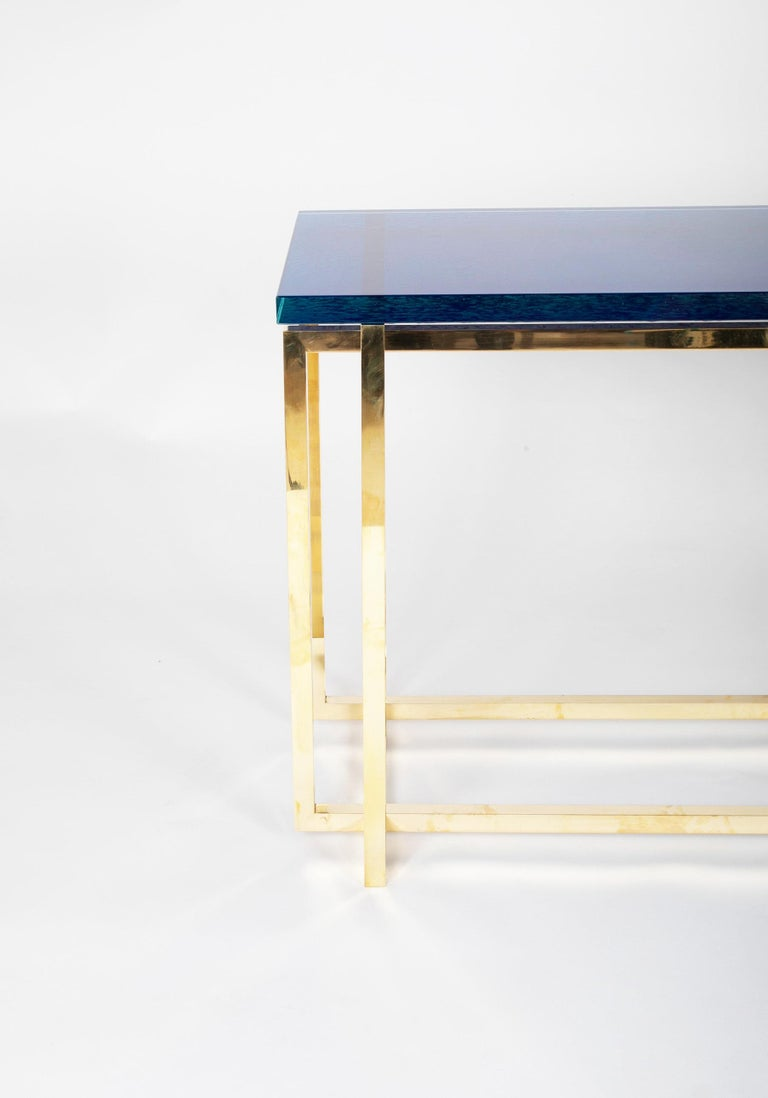 Romeo Rega Brass Console Table with Custom Top For Sale 5