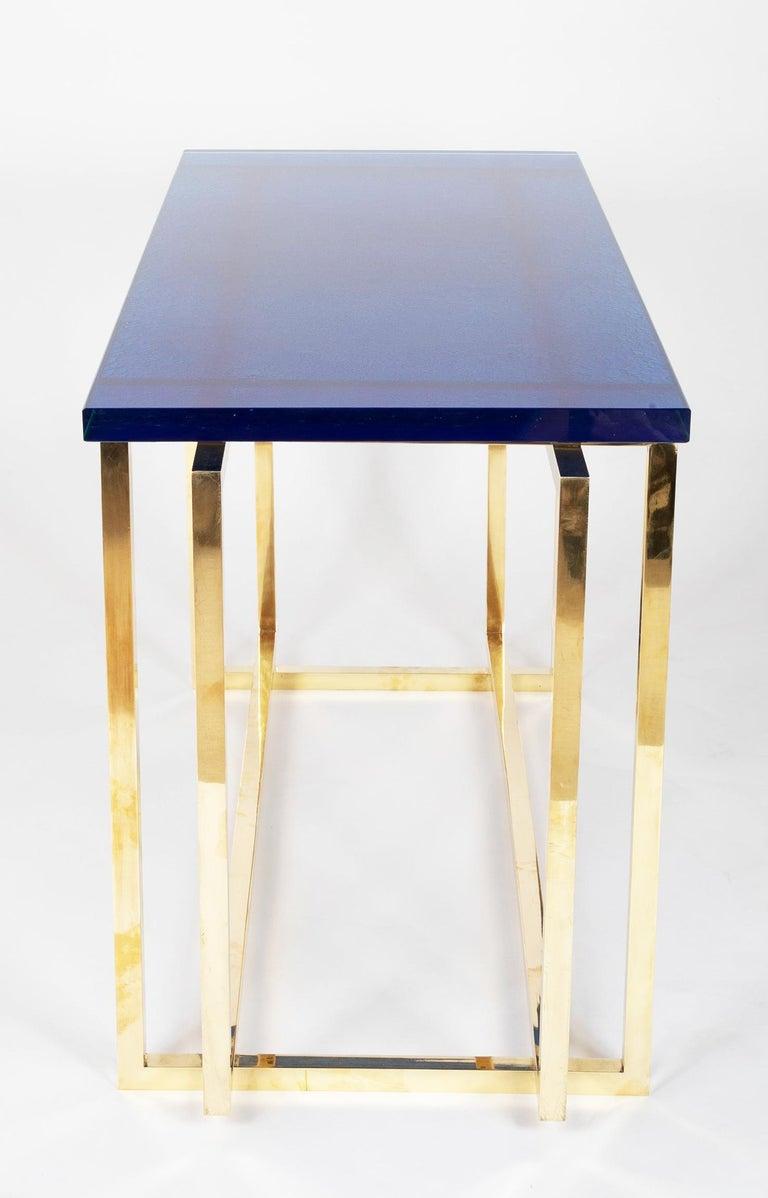 Italian Romeo Rega Brass Console Table with Custom Top For Sale