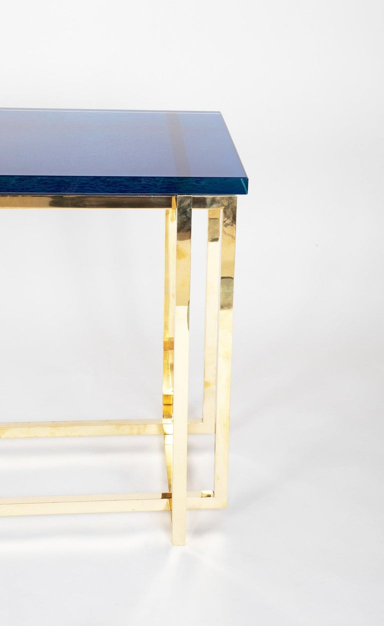 Romeo Rega Brass Console Table with Custom Top In Good Condition For Sale In Stamford, CT