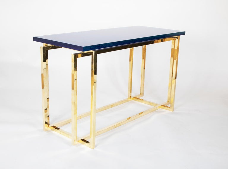 20th Century Romeo Rega Brass Console Table with Custom Top For Sale
