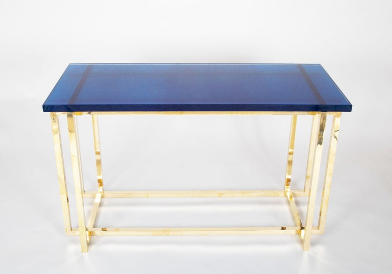 Romeo Rega Brass Console Table with Custom Top For Sale 2