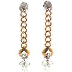 Rose-Cut Diamond, Round Diamond and 18 Karat Rose and White Gold Earrings