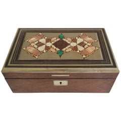 Rosewood and Silver Pietra Dura Inlayed Wooden Box