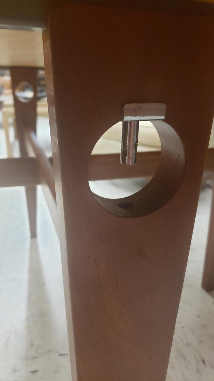 Danish Round Hans Wegner Keyhole Dining Table in Teak For Sale