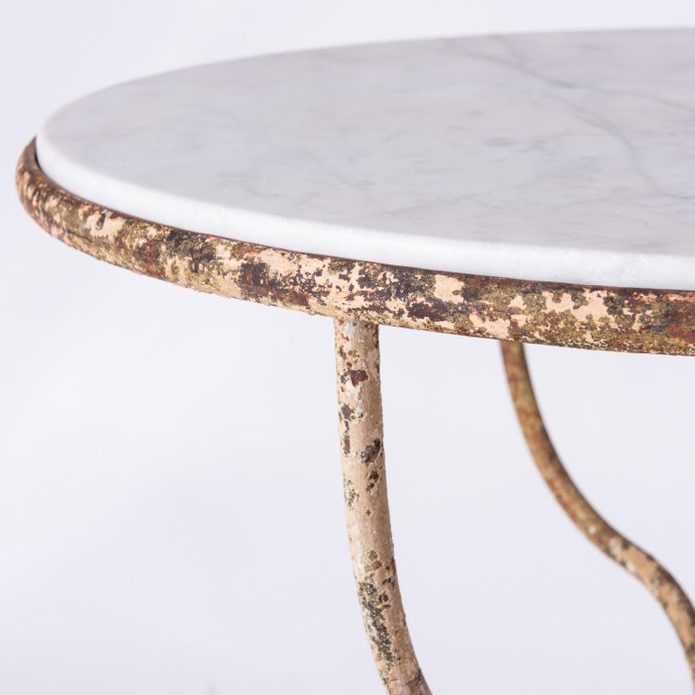 Round Marble Top Café Table with Wrought Iron Base, France, circa 1890 In Good Condition For Sale In New Preston, CT