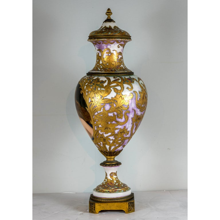 Austrian Royal Vienna-Style Portrait Porcelain Urn and Cover For Sale