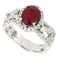 Ruby and Diamond Ring in 18 Karat White Gold