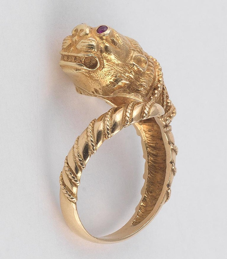 Retro Ruby and Gold Ring, by Lalaounis For Sale
