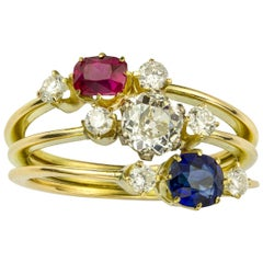 Ruby, Diamond and Sapphire Three-Row Ring
