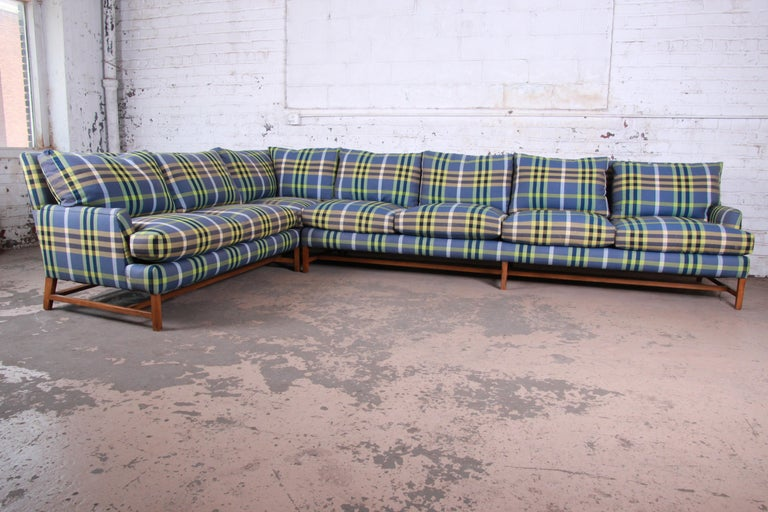 A Rudin Down Filled Two Piece Sectional Sofa In Plaid