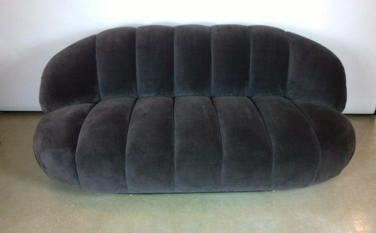 A. Rudin Modernist 20th Century Channel-Back Sofa in New Velvet For Sale 5