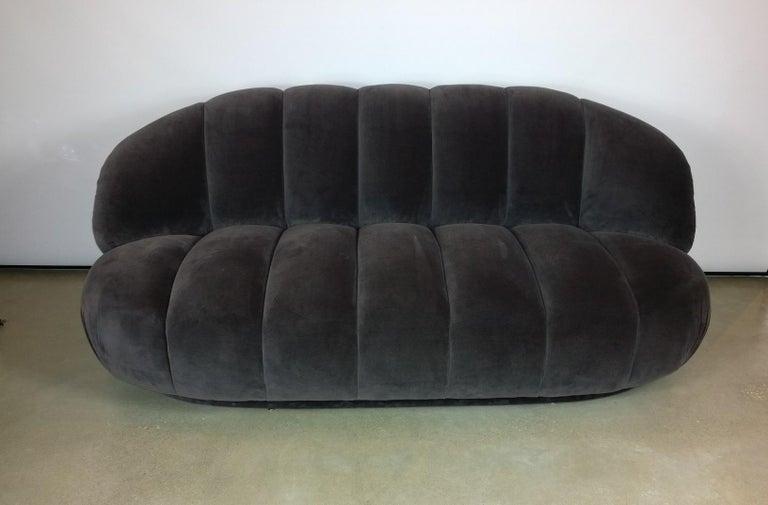 A. Rudin Modernist 20th Century Channel-Back Sofa in New Velvet For Sale 7