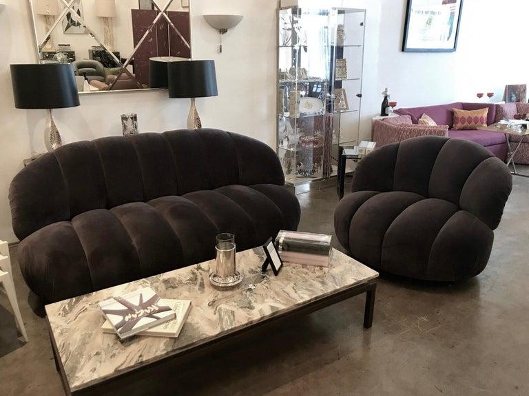 A. Rudin Modernist 20th Century Channel-Back Sofa in New Velvet For Sale 11