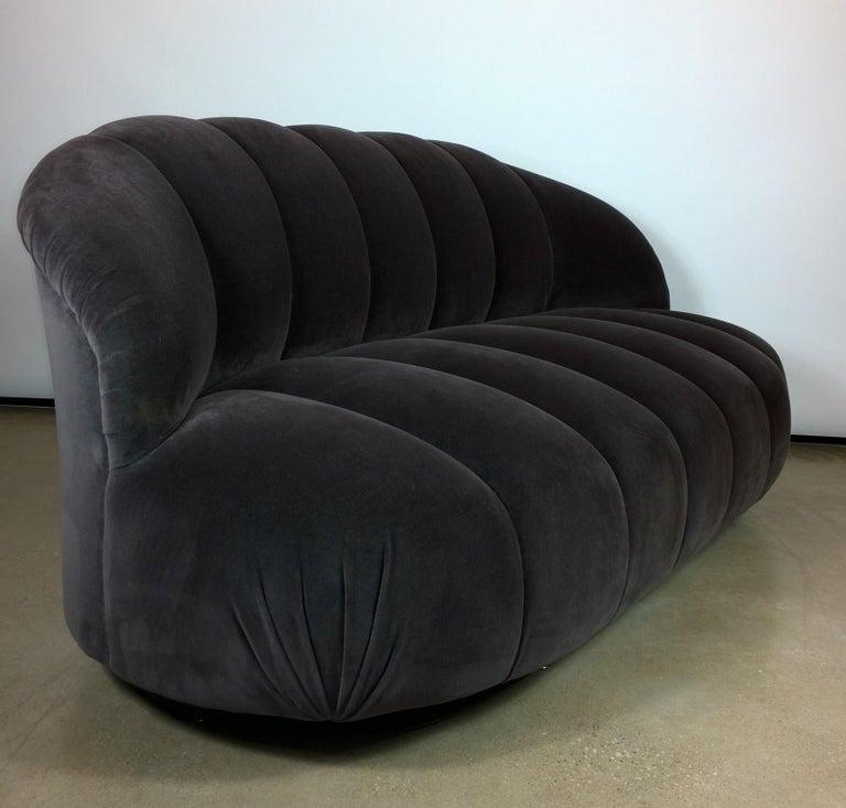 Post-Modern A. Rudin Modernist 20th Century Channel-Back Sofa in New Velvet For Sale