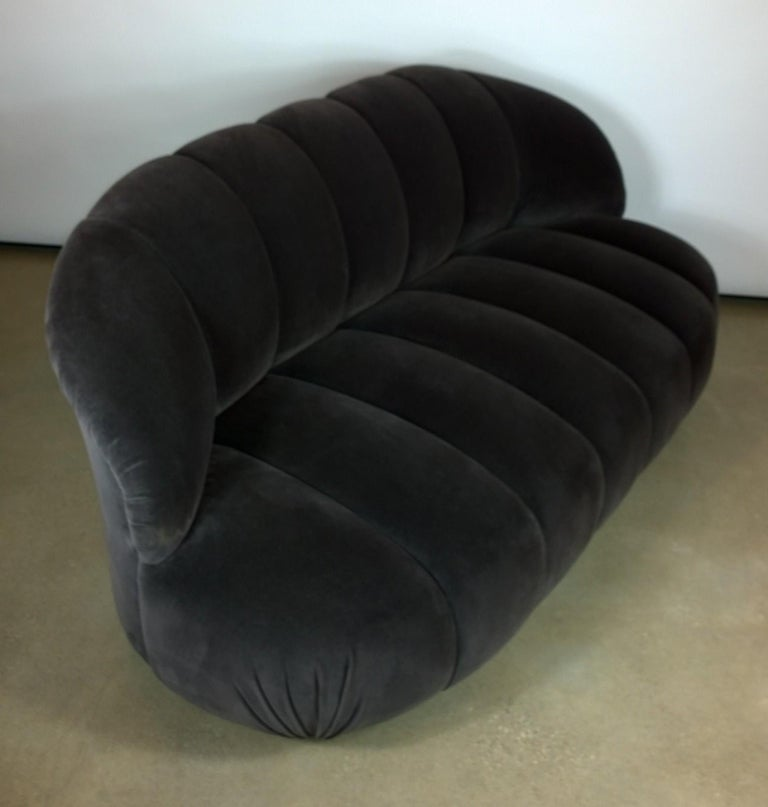 A. Rudin Modernist 20th Century Channel-Back Sofa in New Velvet In Good Condition For Sale In Houston, TX