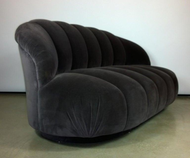A. Rudin Modernist 20th Century Channel-Back Sofa in New Velvet For Sale 1