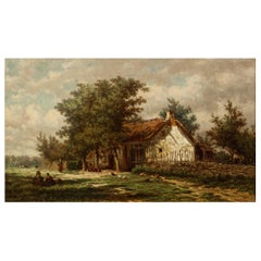 "Barbizon Landscape Painting by Jan van Lokhorst ""A Rural Cottage"" (1867)"