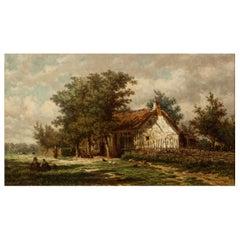 "Barbizon Landscape Painting by Jan van Lokhorst ""A Rural Cottage"" (1867)"