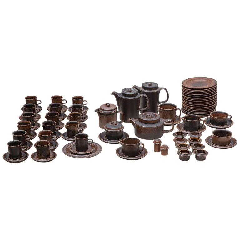 """Ruska"" Line Tea, Coffee Set Designed by Ulla Procope for Arabia in 1960s For Sale"