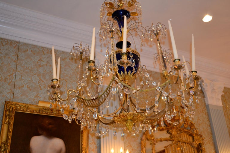 Empire Russian Crystal, Cobalt Glass and Gilt Bronze Chandelier Attributed to Zekh For Sale