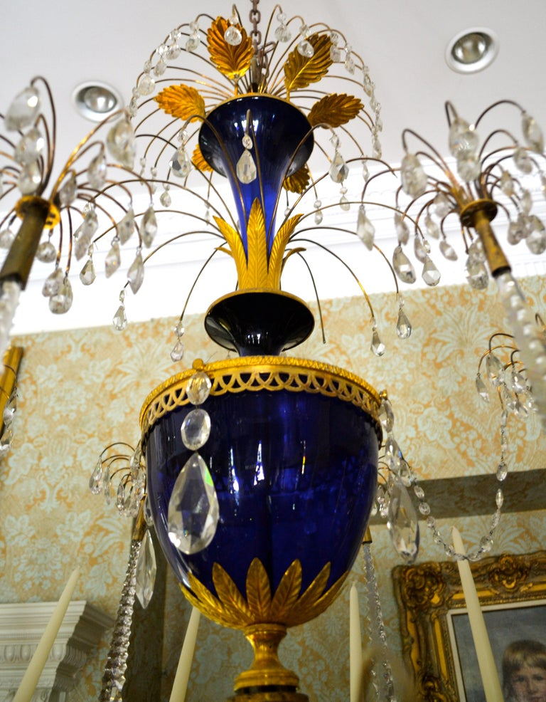 Other Russian Crystal, Cobalt Glass and Gilt Bronze Chandelier Attributed to Zekh For Sale