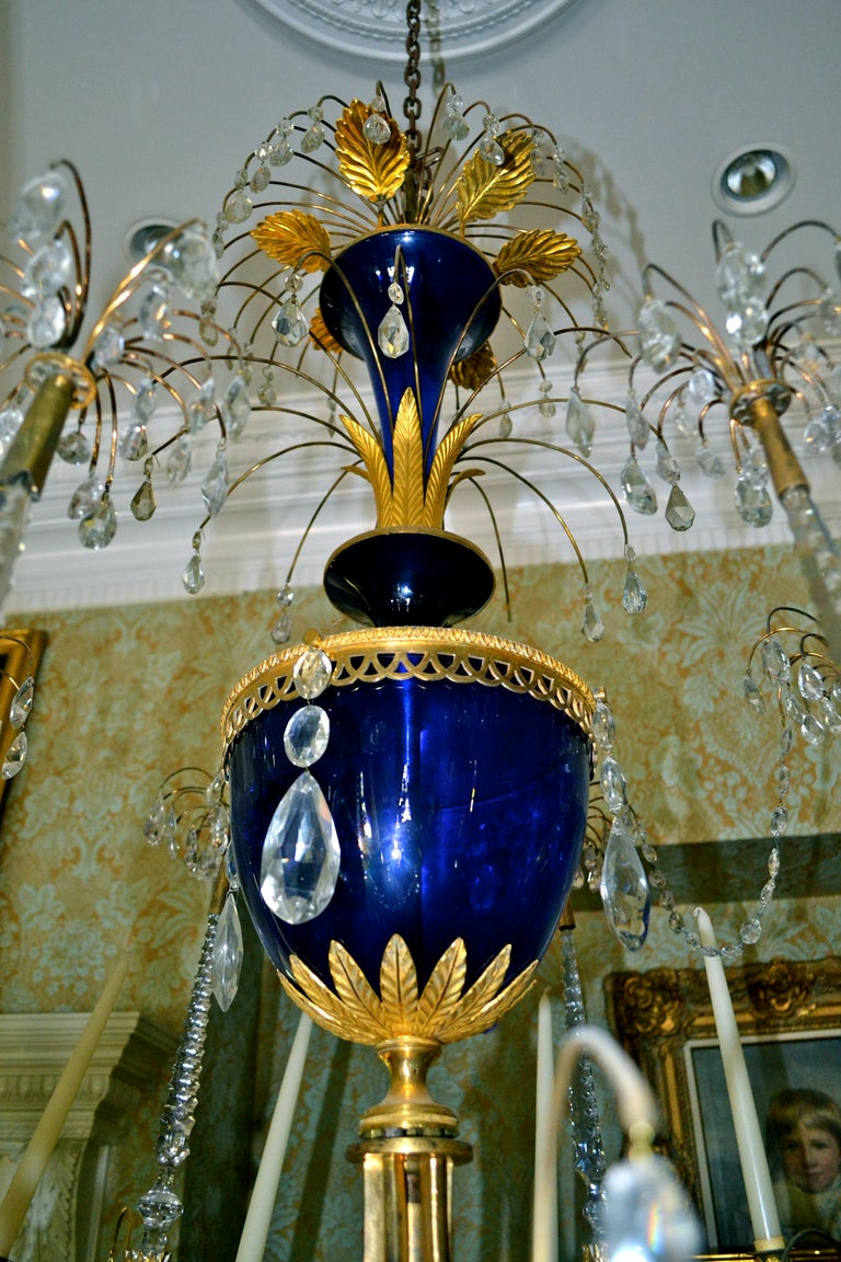 Russian Crystal, Cobalt Glass and Gilt Bronze Chandelier Attributed to Zekh In Good Condition For Sale In Vancouver, British Columbia