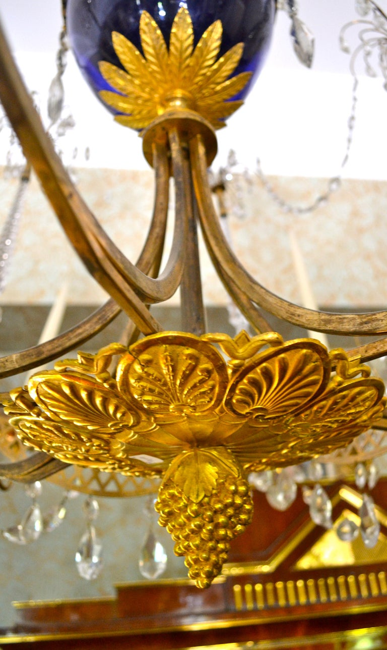 18th Century Russian Crystal, Cobalt Glass and Gilt Bronze Chandelier Attributed to Zekh For Sale