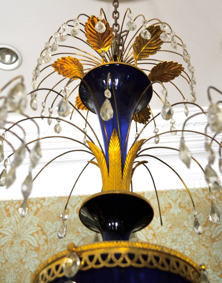 Russian Crystal, Cobalt Glass and Gilt Bronze Chandelier Attributed to Zekh For Sale 2