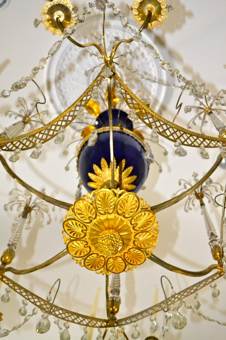 Russian Crystal, Cobalt Glass and Gilt Bronze Chandelier Attributed to Zekh For Sale 3