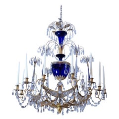 Russian Crystal, Cobalt Glass and Gilt Bronze Chandelier Attributed to Zekh