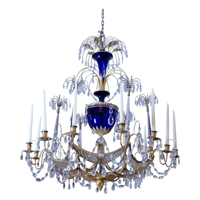 Russian Crystal, Cobalt Glass and Gilt Bronze Chandelier Attributed to Zekh For Sale