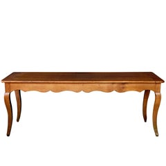 Rustic and Sturdy French Country Cherrywood Farm Table with Drawer and Slide