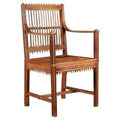 Rustic Straw Work Armchair