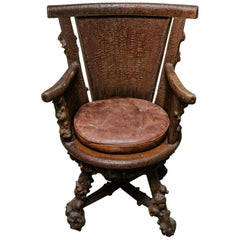 Rusticated Timber Revolving Desk Chair