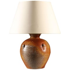 Salt Glazed Brown Terracotta Art Pottery Table Lamp Made in England