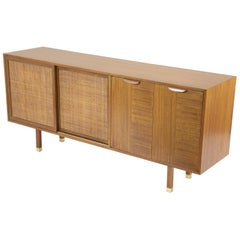 Sapele Mahogany Cane and Brass Credenza Designed by Harvey Prober