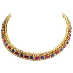 Sapphire 13.00 Carat, Ruby and Diamond Necklace Mounted in 18 Karat Yellow Gold